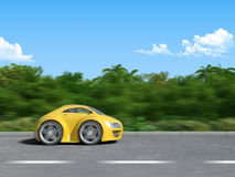 Yellow sportcar on the road. 3D render of Funny sportcar racing on the tropic island road Stock Image