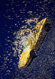 Yellow sportcar underwater accident Stock Images