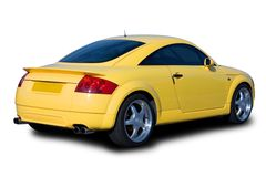 Yellow Sports Car. A yellow sports car isolated on white Stock Photography