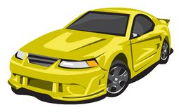 Yellow Sports Car. This yellow sports car was illustrated with Illustrator Stock Photos
