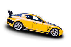 Yellow sports car. On white background Royalty Free Stock Image