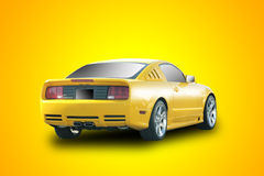 Yellow sports car. In yellow background Royalty Free Stock Image