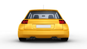 Yellow sports car - 3D render Royalty Free Stock Photo