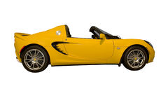 Yellow Sports Car. This is a brand new yellow sports car with a targa style convertible top, isolated on a white background Stock Image