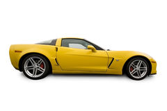 Yellow sports car. Isolated on a  white background Royalty Free Stock Photos