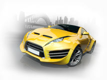 Yellow sports car against an urban background Royalty Free Stock Photo