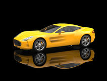 Yellow sports car - beauty studio shot. Ground reflection - isolated on black background Stock Images