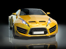Yellow sports car on a black background Stock Images
