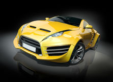 Yellow sports car on a black background Stock Photography