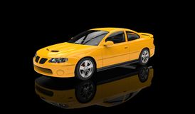 Yellow Sports Car. In Black Showroom Royalty Free Stock Photos