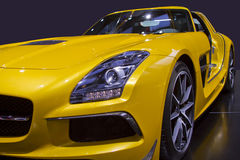 Yellow Sports Car Close Up Stock Photography