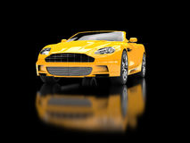 Yellow sports car convertible. On black reflective background Stock Photo