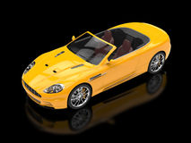 Yellow sports car convertible - top view Stock Photo