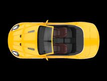 Yellow sports car convertible - top view Royalty Free Stock Photo