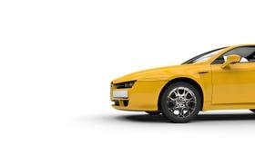 Yellow Sports Car Cutout. Yellow sports car shot on white background Stock Image