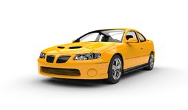 Yellow Sports Car Front Side View Royalty Free Stock Images