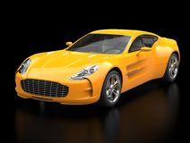 Yellow sports car - front view beauty shot - ground reflection. Isolated on black background royalty free stock images