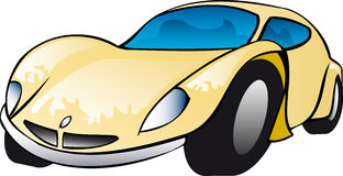 Yellow Sports Car Illustration. Illustration of yellow sports car with blue tinted windows.  Image is isolated on white background Stock Photos