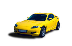 Yellow Sports Car. Japanese Luxury Sports Car isolated on white background Royalty Free Stock Photography