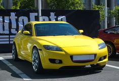 Yellow Sports Car. Japanese luxury car Mazda. May 30, 2015 St. Petersburg, Russia Stock Image