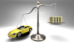 Yellow sports car on a scale against a stack of gold bars symbolizes expensive shopping, overpaying for goods, rip off, luxury. Overpriced goods lead to Royalty Free Stock Photography