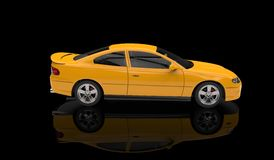 Yellow Sports Car. Side black showroom Royalty Free Stock Photos