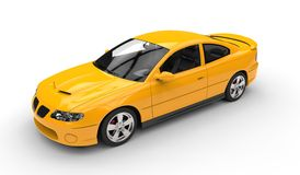 Yellow Sports Car - Top Side View Stock Photo