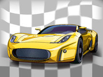Yellow sports car. Vector yellow sports car. Background a flag of black and white squares Vector Illustration
