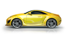 Yellow sports car on a white background Royalty Free Stock Images