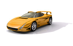 Yellow Sports Concept Car. 3D Model of yellow sports concept car, with clipping path, isolated on white background royalty free illustration