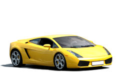 Yellow sportscar. On white background Stock Photo