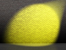 Yellow spot on wall. Landscape computer-generated image of yellow spotlight on a bare brick wall vector illustration