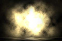 Yellow spotlight blast smoke stage. Yellow spotlight blast smoke stage background Stock Images
