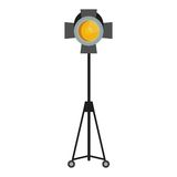 Yellow spotlight for film studio. Flat vector cartoon illustration. Objects isolated on a white background Stock Photos
