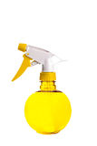 Yellow Spray Bottle on White Stock Photo