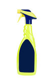 Yellow spray cleaning bottle with blank label Stock Images