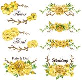 Yellow spring collection with leaves and flowers frame royalty free illustration