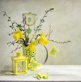 Yellow spring composition Stock Photo