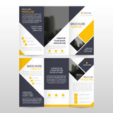 Yellow square business trifold Leaflet Brochure Flyer report template vector minimal flat design set, abstract three fold