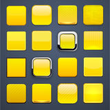Yellow square high-detailed modern web buttons. Royalty Free Stock Photography