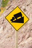 Yellow Square Road Sign Warning Steep Decline Ahead Royalty Free Stock Images