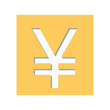 Yellow square shape with currency symbol of china Royalty Free Stock Photography