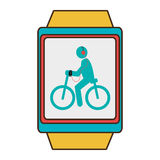 Yellow square watch with cartoon human working out,  graph Royalty Free Stock Photos
