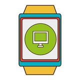 Yellow square watch with shopping and media icon on the screen Royalty Free Stock Images