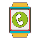 Yellow square watch with shopping and media icon on the screen Stock Photos