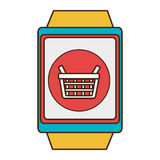 Yellow square watch with shopping and media icon on the screen Royalty Free Stock Photography