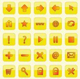Yellow square web buttons Stock Photos