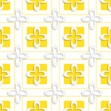 Yellow squares and white flowers pattern Stock Images