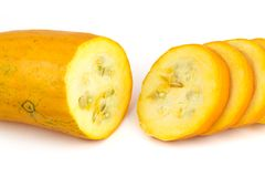 Yellow squash cut in half Stock Image