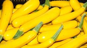 Yellow squash on display at the farmer's market Stock Photos